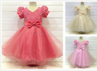 Flower Girl Dress Sparkly Short Sleeves Princess Party Bridesmaid Corsage Dress