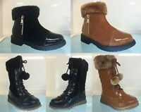 NEW PATENT KIDS GIRLS SNOW BLACK ZIP UP WINTER FUR BOOTS SIZE 8 -13 Older 1 2