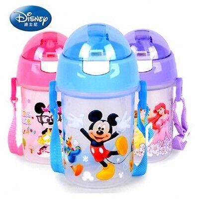 Baby Kids Children Disney Feeding Drinking Water Straw Bottle Suction Sippy Cup