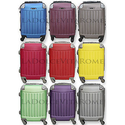 TROLLEY VALIGIA BAGAGLIO A MANO ABS CABINA RYANAIR EASY JET 4 RUOTE LOW COST