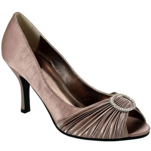 Ladies arricciato effetto diamante fibbia ACCENT peep toe donna tacchi POCHETTE