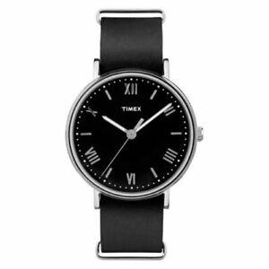 New-Timex-Men-039-s-Southview-Black-Leather-Black-Dial-Watch-TW2R28600