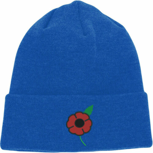 Poppy Remembrance Day Embroidered Beanie Lest We Forget Armed Forces Day Hat