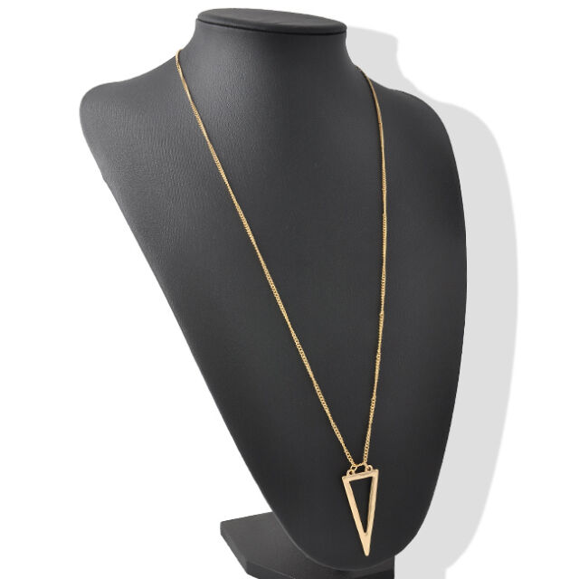 New Women's Simple Gold Hollow Geometric Triangle Pendant Long Chain Necklace