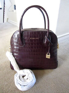 4f905acdac421 New Michael Kors Mercer Large Dome Satchel Damson Embossed Leather ...