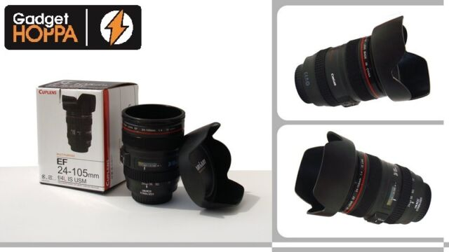 Camera Lens Mug Tea Coffee Cup Hot Drinks Mug Thermos & Biscuit Tray Lid - 400ml