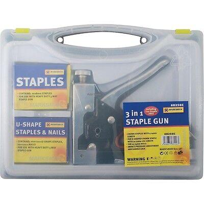 HEAVY DUTY STAPLE GUN 3 IN 1 STAPLER TACKER WITH STAPLES UPHOLSTERY