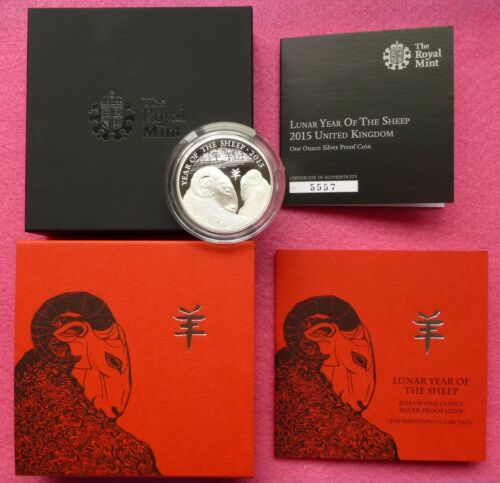 2015 ROYAL MINT LUNAR YEAR OF THE SHEEP SILVER PROOF TWO POUND £2 BOX COA