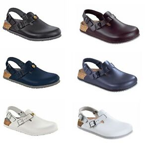 23947edf50f8 Image is loading Birkenstock-Tokio-Tokyo-Leather-Work-Shoes-Clogs-Super-