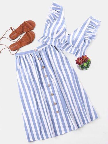 Two Piece Set V Neck Sleeveless Crop Top Striped Ruffle Button High Waist Skirts