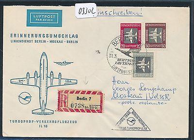 03302) Ddr Dlh Ff Berlin - Moskau 1.4.60, Sou Reco 75pf Mif Ds