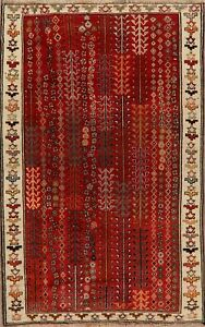 Vintage-Geometric-Gabbeh-Hand-Knotted-Tribal-Area-Rug-Wool-Oriental-Carpet-4-039-x7-039