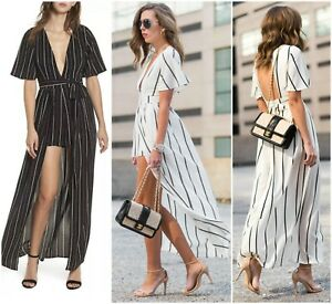 612c80d83849 SOCIALITE DEEP WALK THROUGH STRIPE OPEN BACK ROMPER MAXI DRESS Sz S ...