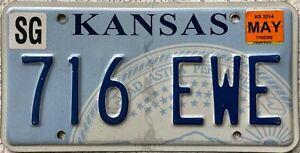 GENUINE-American-Kansas-State-Seal-USA-License-Licence-Number-Plate-Tag-716-EWE