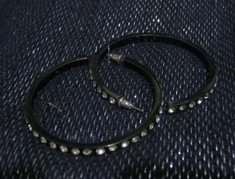 Gorgeous Dark Tone Silver Tone Metal Earrings Hooped White Stones 2 Ins Wide