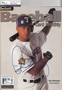 Alex-Rodriguez-autographed-Texas-Rangers-Beckett-magazine-JSA-Authentic-Q30624