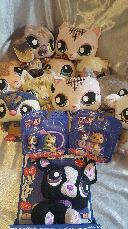Littlest Pet Shop plush lot of 11with Littlest Pet Shop figures cats dogs cow