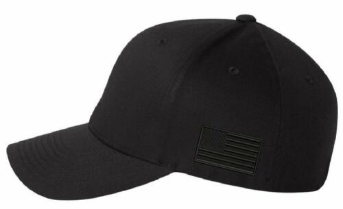 Make America Great Again MAGA Flex fit or Adjustable Blackout Hat with side Flag