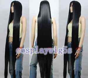 Future Diary Kasugano Tsubaki Fashion black long Cosplay Wig 200cm