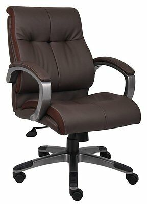 Boss Office Products Brown Double Plush Mid Back Executive Chair B8776P-BN New