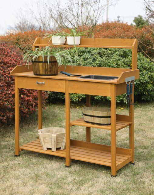Potting Bench Table Shelf Garden Outdoor Storage Work Station Planting Patio