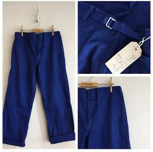 Vintage-Blue-Cotton-Cinch-Back-Herringbone-Chore-Workwear-Trousers-Pants-W34