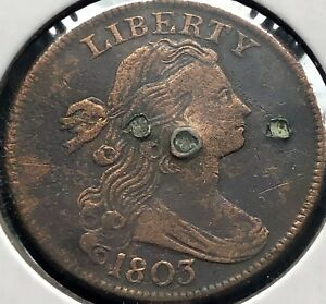 1803 Large Cent Draped Bust One Cent 1c High Grade VF Details #12802