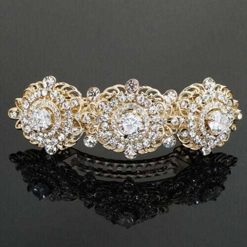 BD05 Elegant Clear S Crystal Rhinestone CZ Gold Tone Alloy Barrette Hair Clip