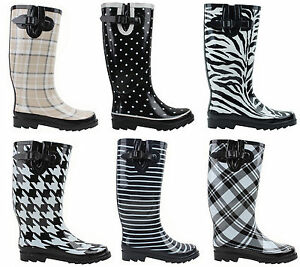 New Womens Flat Wellies Mid Calf Rubber Rain & Snow Boots Rain ...