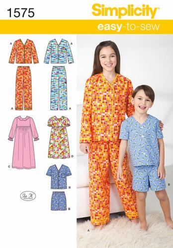 Simplicity 1575 3-6 EASY Boy Girl Pajama Nightgown Short Pant Sleepwear Pattern