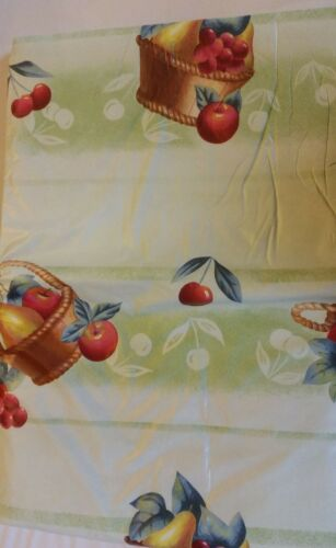 "Tablecloth Vinyl Flannel Back 52/"" X 90/"" Oblong BASKET of FRUITS by RL 6-8 ppl"