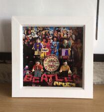 Framed Lego Beatles Sgt Peppers custom minifigure Display 180x180x35mm.