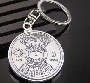 Vintage-Keyring-Key-Calendar-Years-Keyfob-Perpetual-Keychain-Chain-Silver-Craft