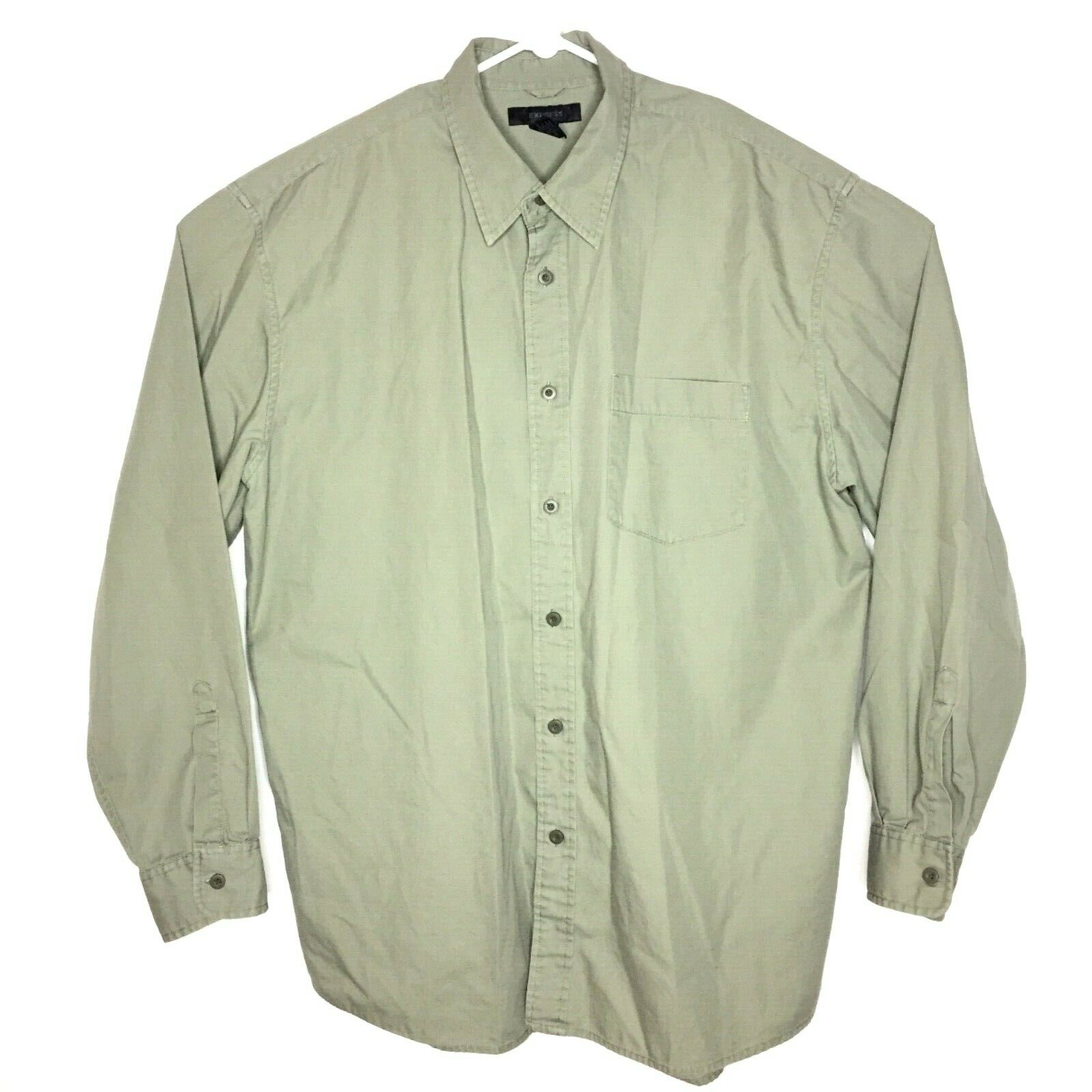 Express Mens Khaki Green Sz XL Long Sleeve Button Up Shirt 100% Cotton