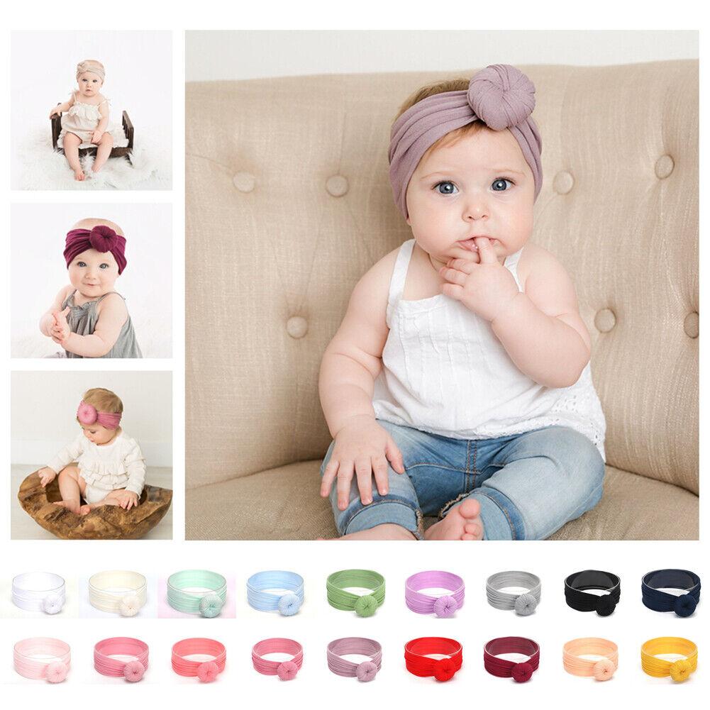 12 Pcs Baby Girls Nylon Headbands Newborn Infant Toddler Hairbands Headwrap New