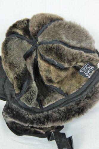 Black 100/% Sheepskin Shearling Leather Hat Elmer Fudd Trapper Hunting M-3XL NWT