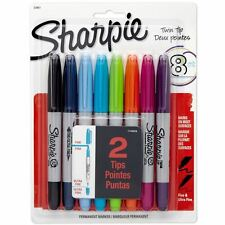 Sharpie Permanent Marker Pens - Special Twin-Tip - Assorted Coloured Markers x 8