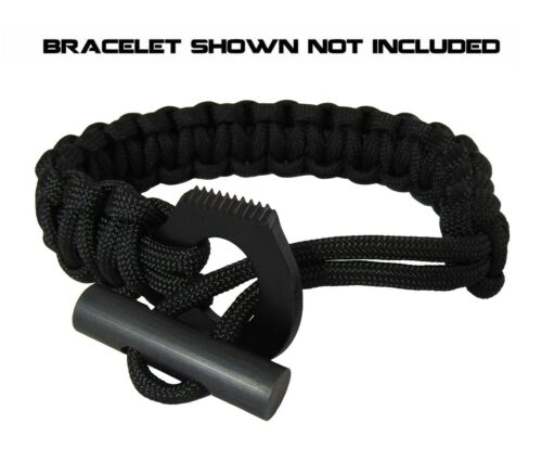 Type-III Black Serrated Loop Striker//Knife for Paracord Projects//Fire Starter