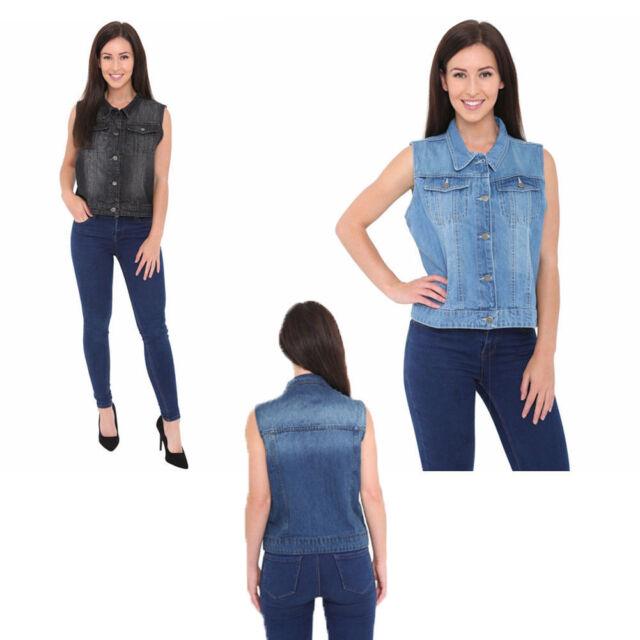 b1f4aba76645da Women s Denim Chest Flap Pockets Vest Ladies Casual Jean Sleeveless Jacket  Coat
