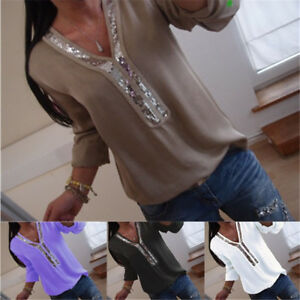 Plus-Size-Women-Casual-T-Shirt-Blouse-Sequin-V-Neck-Long-Sleeve-Tops-Pullover