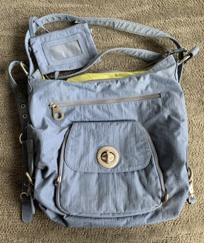 """BAGGALLINI """"BRUSSELS"""" 3-WAY BAG ~ Blue w/ Lime Gre"""