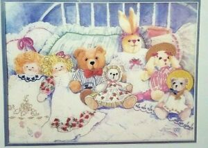 Crewel-Embroidery-Kit-Bears-Bunnies-Dolls-Dimensions-16x12-inches-New-Vintage