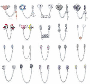 European-925-Sterling-Silver-Beads-CZ-Safety-Chain-Charms-Fit-Necklace-Bracelet
