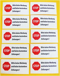 Details Zu 10 X Stop Bitte Keine Werbung Und Kostenlose Zeitungen Briefkasten Aufkleber