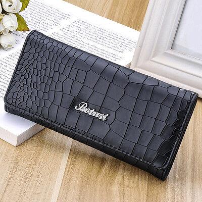 Classic Women Lady Leather Clutch Wallet Long PU Card Holder Purse Handbag Black