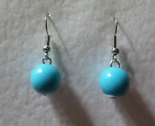 TURQUOISE ACRYLIC BALL DROP EARRINGS 50's RETRO KITSCH ROCKABILLY SILVER PLATED