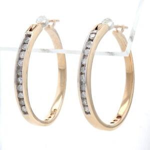 Oro Giallo Diamante Orecchini a Cerchio - 10k Singolo Taglio .30ctw con Foro