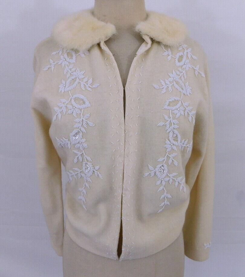 Vintage1950s 50s Lambswool Angora Mink Fur Collar Beaded Sweater ML