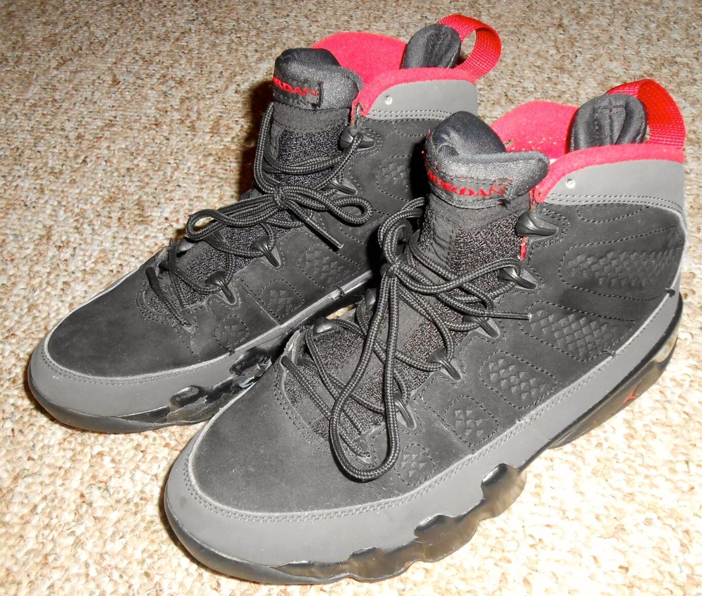 2010 Nike Air Jordan IX 9 Retro Black/ Red-Dark Charcoal 302370-005 Size 7.5