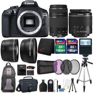 Canon-EOS-1300D-Kamera-mit-18-55mm-Objektiv-75-300mm-Objektiv-Canon-Case-amp-Zubehoer
